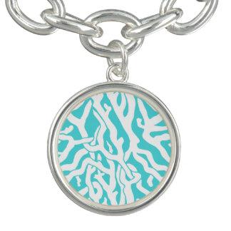 Azul branco náutico do teste padrão do recife de bracelete
