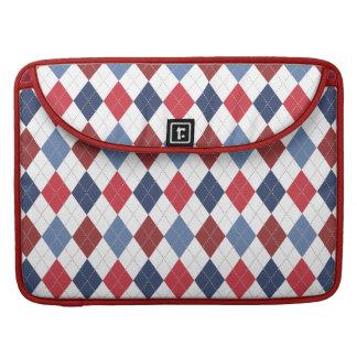 Azul branco vermelho patriótico formal de Argyle Bolsas Para MacBook