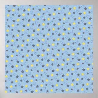 Azul-céu cinzas e teste padrão de estrelas do am posters