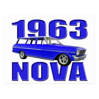 azul chevy do longroof do vagão da nova 1963 II Cartão Postal