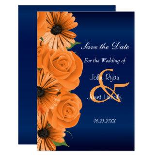 Azul com a laranja cor-de-rosa & as economias da convite 8.89 x 12.7cm