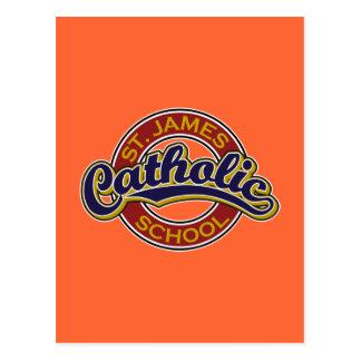 Azul da escola católica de St James no vermelho Cartão Postal