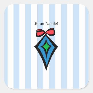 Azul da etiqueta do ornamento do diamante de Buon Adesivo Quadrado