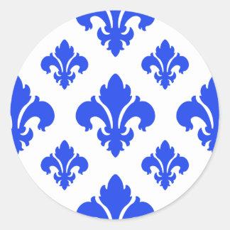 Azul da flor de lis 2 adesivo redondo