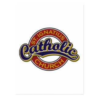 Azul da igreja Católica de St Ignatius no vermelho Cartão Postal