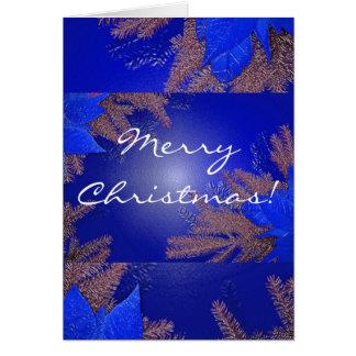 Azul da poinsétia do Natal em inglês Cartões