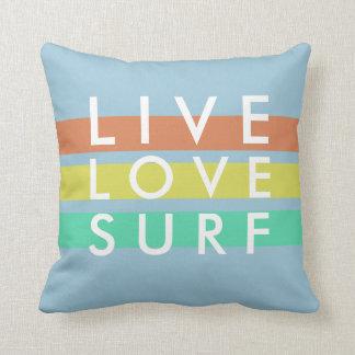Azul de oceano vivo, amor, travesseiro do surf almofada