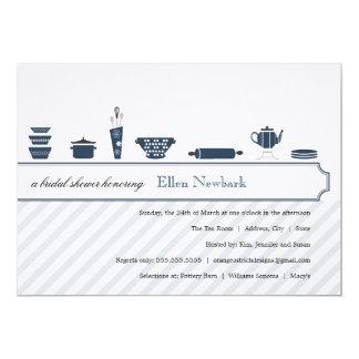 Azul de pavão dos chás de panela   convite 12.7 x 17.78cm