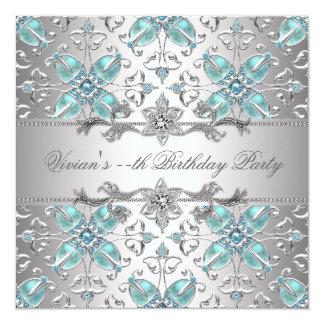 Azul de prata dos diamantes todo o convite de