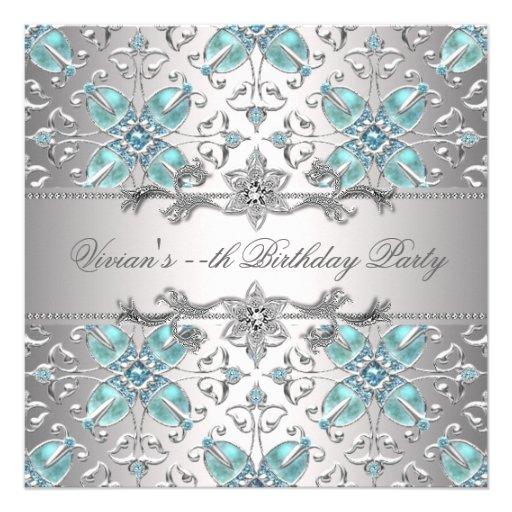 Azul de prata dos diamantes todo o convite de fest