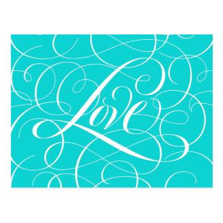 Azul de roda do Aqua de Tiffany do coração do amor Cartão Postal