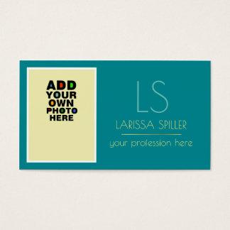 azul de turquesa da foto da profissão cartão de visitas