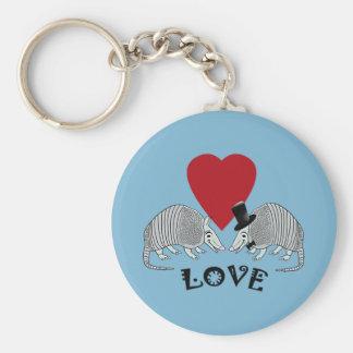 Azul do amor do coração do tatu chaveiro