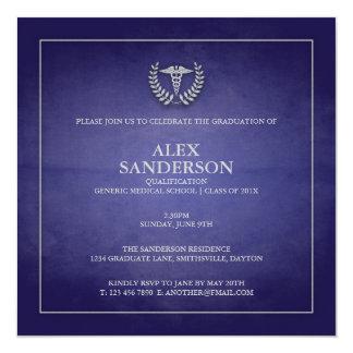 Azul do anúncio | da graduação da Faculdade de Convite Quadrado 13.35 X 13.35cm