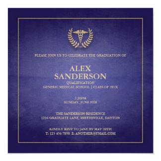 Azul do anúncio   da graduação da Faculdade de Convite Quadrado 13.35 X 13.35cm