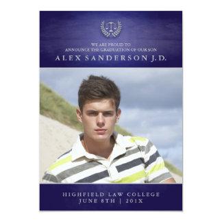Azul do cartão com fotos   da graduação da escola convite personalizados