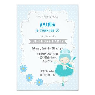 Azul do convite do aniversário da bailarina