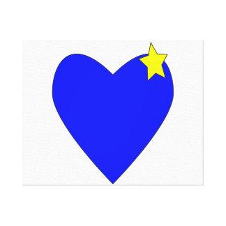 azul do coração com star.png amarelo impressão em tela