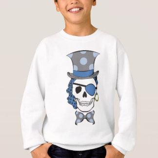 Azul do crânio do pirata do noivo camiseta