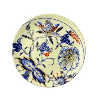 Azul do fluxo na arte antiga amarela do teste pratos de porcelana