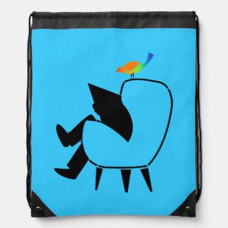 Azul do jornal da leitura do pássaro da canção mochila