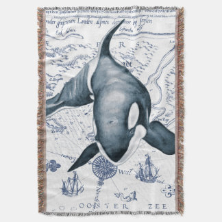 Azul do mapa da orca cobertor