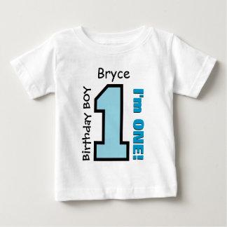 AZUL do menino do primeiro aniversario um nome Tshirts