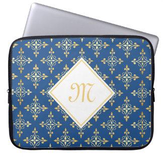 Azul do monograma e ouro luxuosos Quatre floral Capas Para Computadores