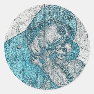 Azul do vintage do Jesus Cristo da Virgem Maria e Adesivo