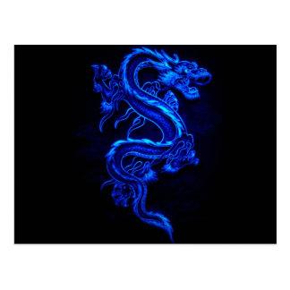 azul-dragão-preto-fogo cartão postal