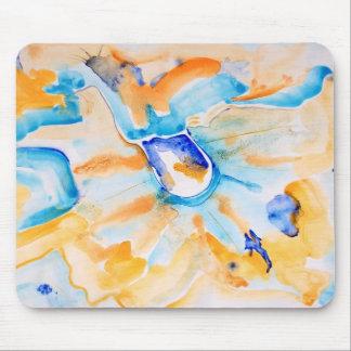 Azul e abstrato da laranja mouse pad
