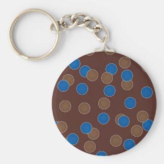 Azul e bolas de Brown Chaveiro