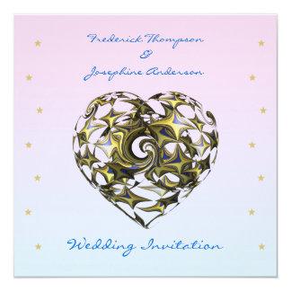 Azul e convite de casamento do coração do amor do