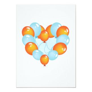 Azul e laranja Balloons convites