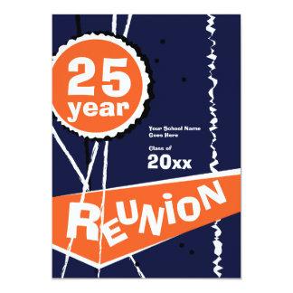 Azul e laranja convite da reunião de classe de 25