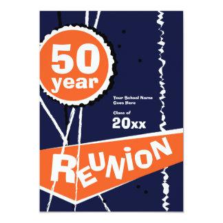 Azul e laranja convite da reunião de classe de 50