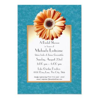 Azul e laranja da margarida do Gerbera Convite 12.7 X 17.78cm