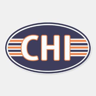 Azul e laranja de Chicago Adesivo Oval