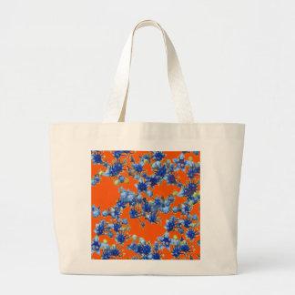 azul e laranja do hydrangea sacola tote jumbo
