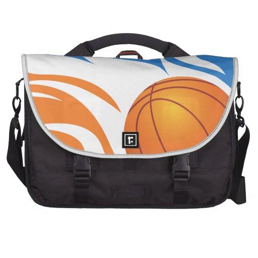 Azul e laranja flamejantes do basquetebol bolsa para laptops