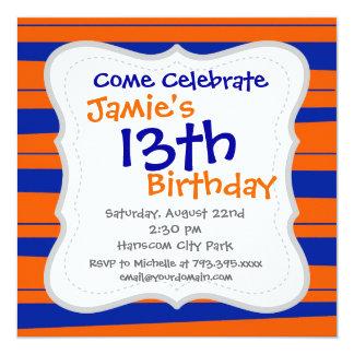 Azul e laranja listra o teste padrão corajoso dos convite quadrado 13.35 x 13.35cm
