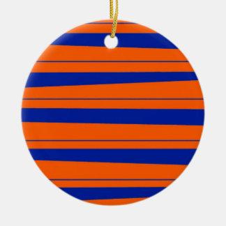 Azul e laranja listra o teste padrão corajoso dos ornamento de cerâmica redondo