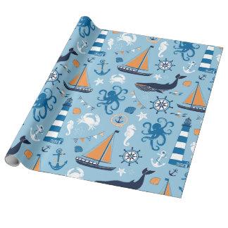Azul e laranja náuticos de oceano papel de presente