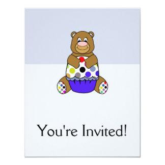 Azul e urso de Brown Polkadot Convite 10.79 X 13.97cm