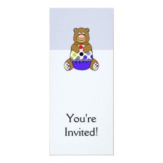 Azul e urso de Brown Polkadot Convite 10.16 X 23.49cm