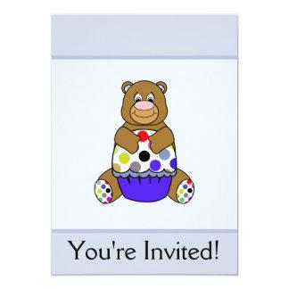 Azul e urso de Brown Polkadot Convite 12.7 X 17.78cm