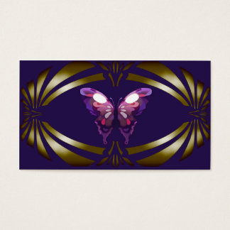 Azul elegante do ouro da borboleta do vintage cartão de visitas