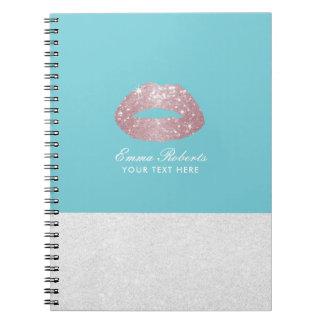 Azul elegante do ovo dos lábios cor-de-rosa caderno espiral