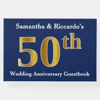 Azul escuro + Aniversário de casamento do ouro Livro De Visitas