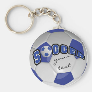 Azul escuro e branco personalize a bola de futebol chaveiro